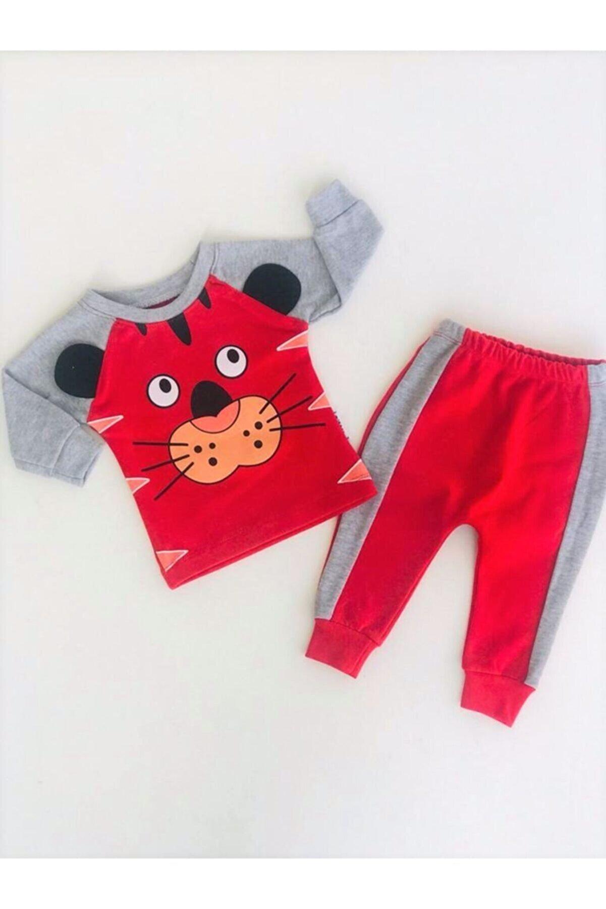 Baby Boss Unisex Bebek Kırmızı Aslanlı Takım