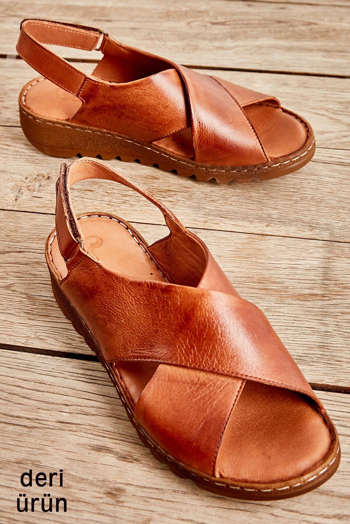 Bambi Hakiki Deri Taba Kadın Sandalet L0529001903