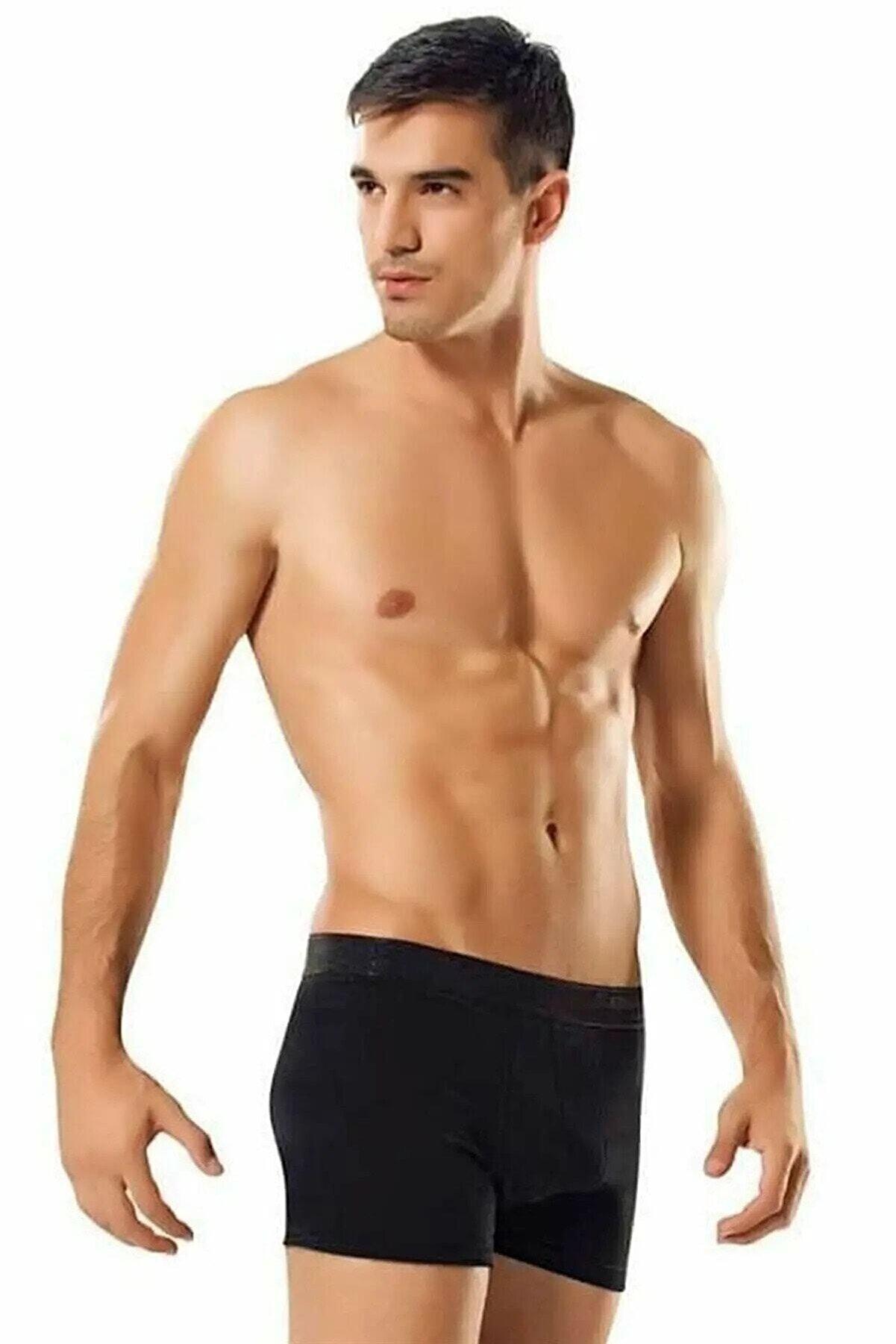 Tutku Erkek Likralı Elastan Boxer Siyah Renk