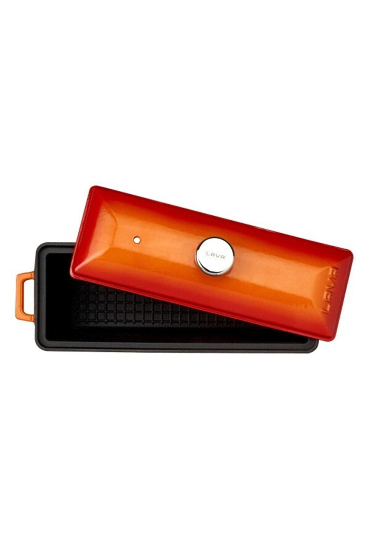 Lava Döküm Ekmek Kabı / Terrine. Ölçü 11x29cm. -turuncu