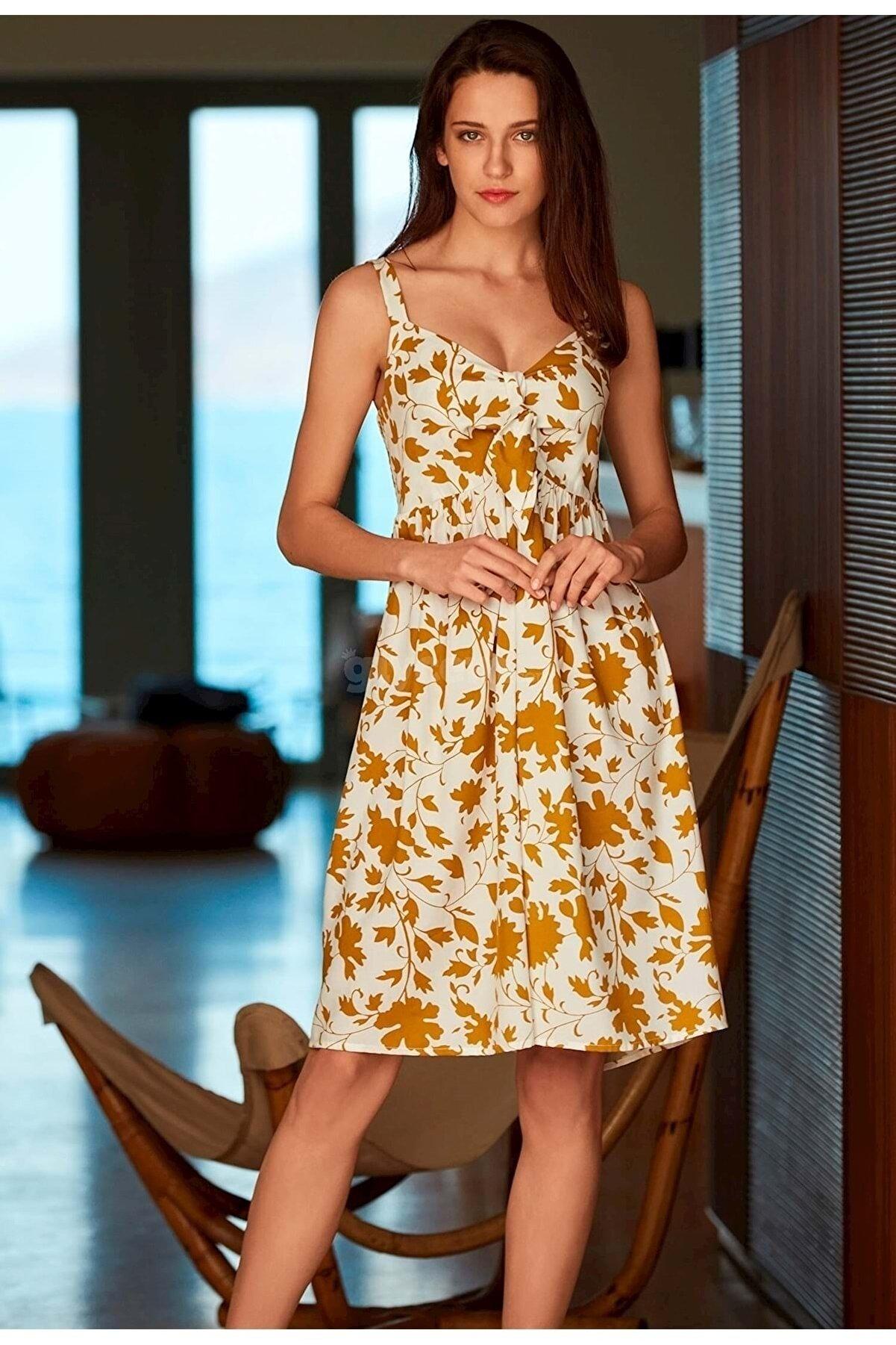 Penye Mood Kadın Krem Desenli Elbise 8526