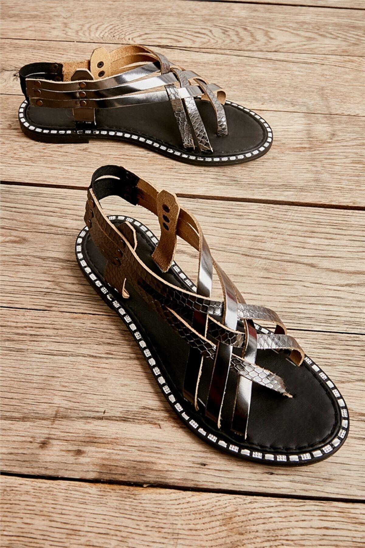 Bambi Sıyah/sıy.yıl Kadın Sandalet L0602508039