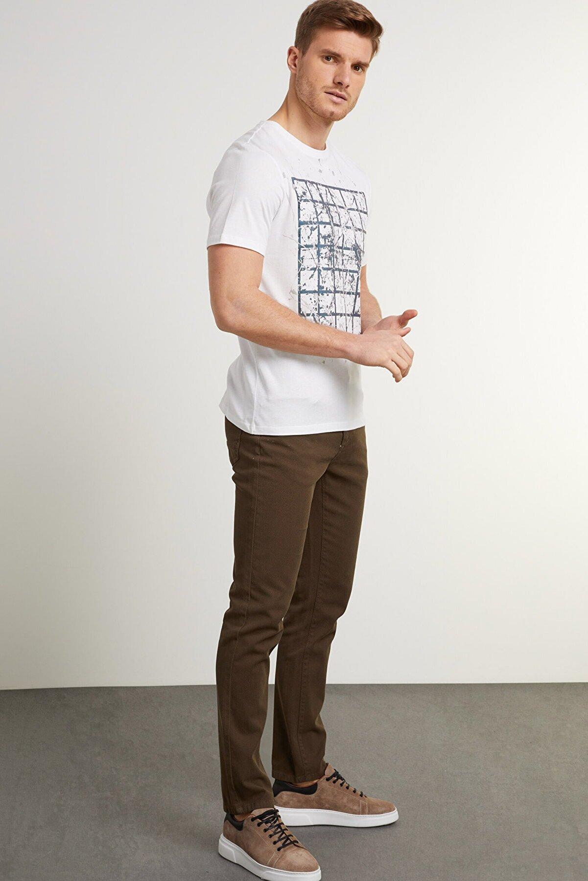 Network Erkek Slim Fit Yeşil Kanvas Pantolon 1078527