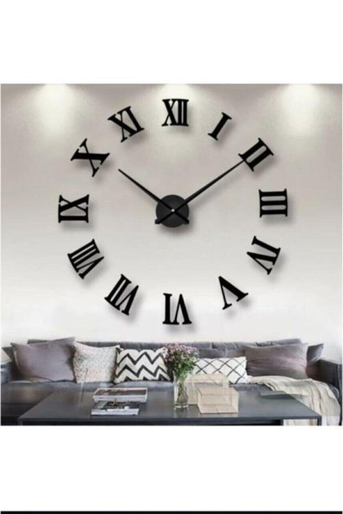 ONCA HEDİYELİK 3d Roma Rakamlı Büyük Ebat Saat Siyah Renk 30 Cm Yelkovan