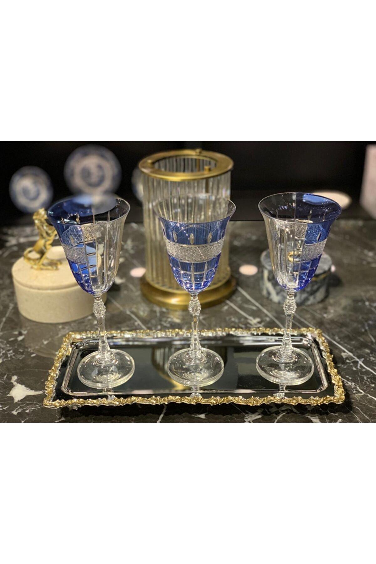 Lemm Home Kadeh Seti Glory Hibrit Mavi Sofra Kristal 6'lı