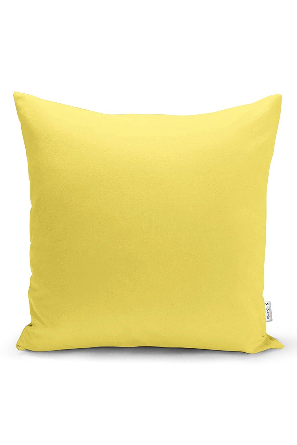 Realhomes Sarı Renkli Dijital Baskılı Yastık Kırlent Kılıfı