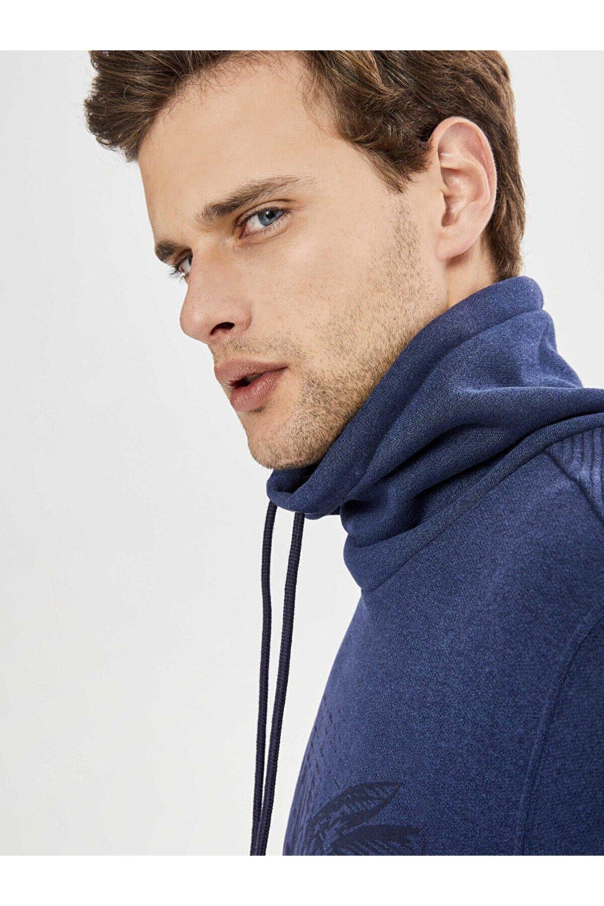 Mcl Giyim Şal Yaka Baskılı Pamuklu Sweatshirt