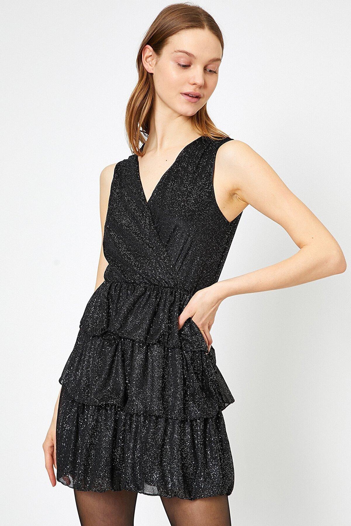 Koton Kadın Sim Detaylı Siyah Elbise 0yak84911fk