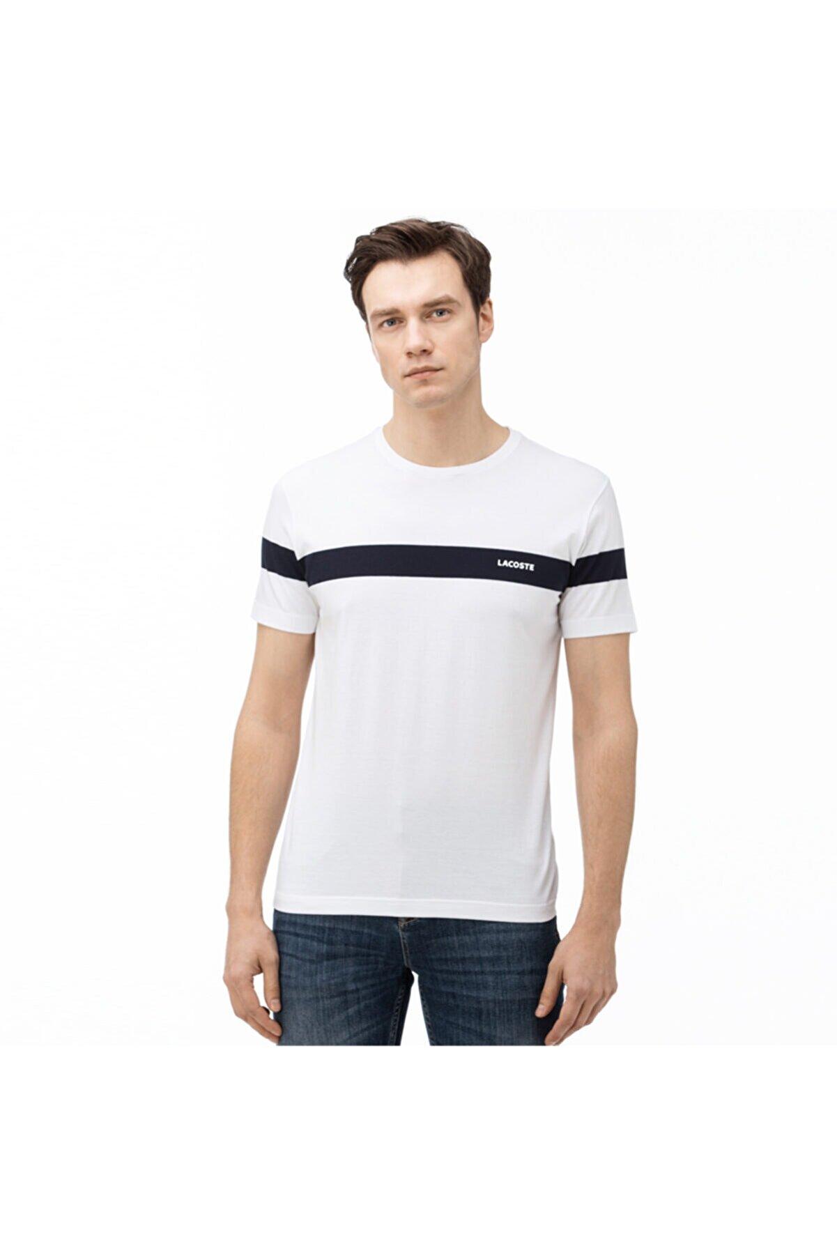 Lacoste Erkek Bisiklet Yaka Çizgili Beyaz T-Shirt TH0054