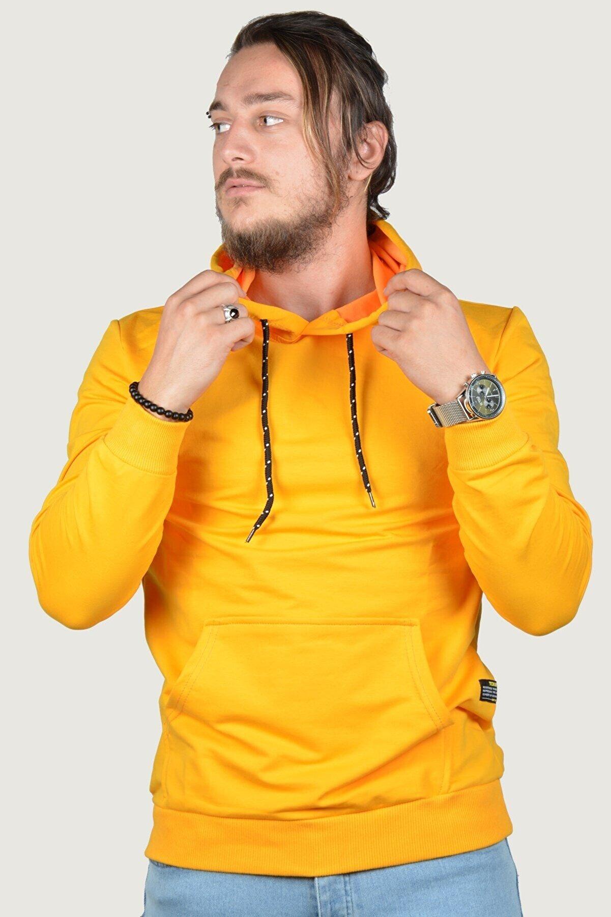 Terapi Men Erkek Kapşonlu Uzun Kollu Sweatshirt 9y-5200178-009 Sarı