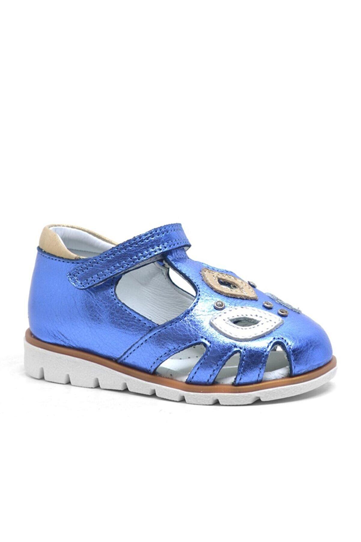 Kids Hakiki Deri Lacivert Rugan Cırtlı Kız Bebek Sandalet