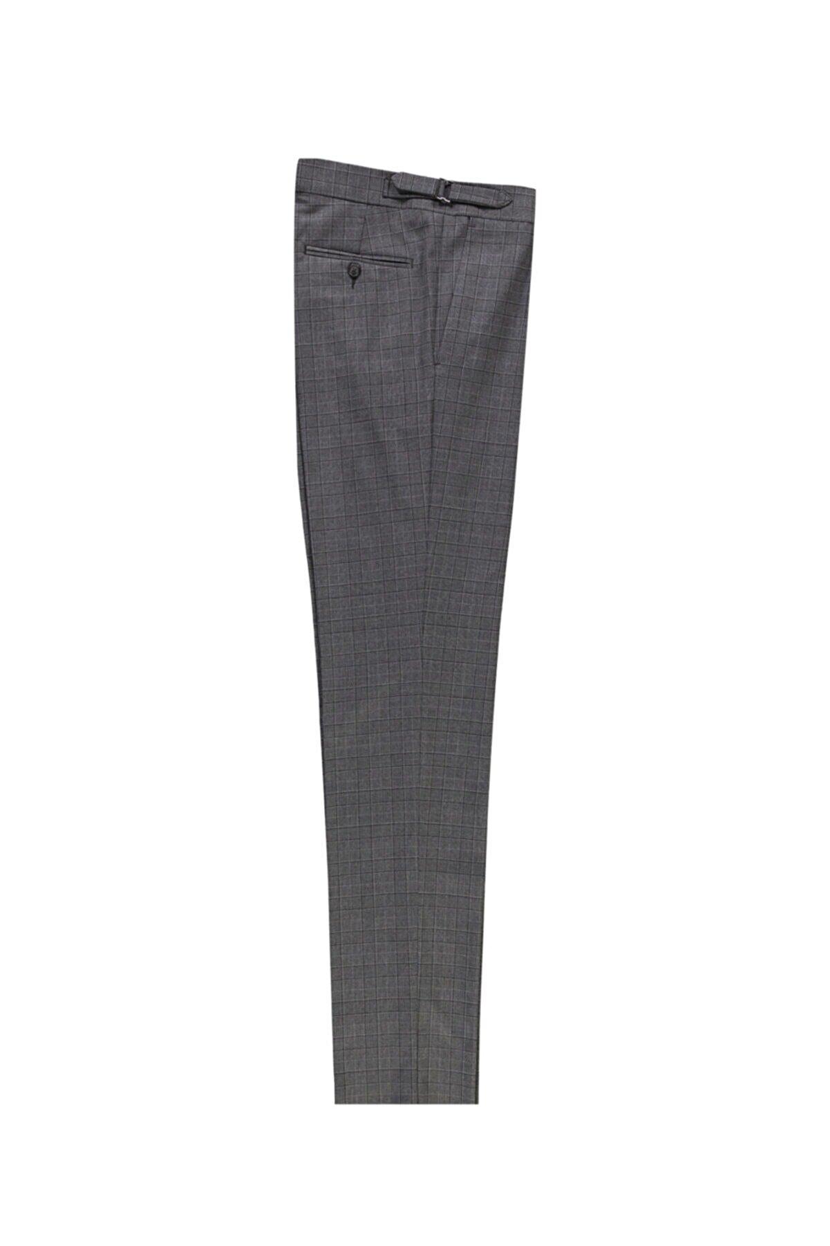 Kiğılı Slim Fit Yünlü Tokalı Pileli Klasik Pantolon