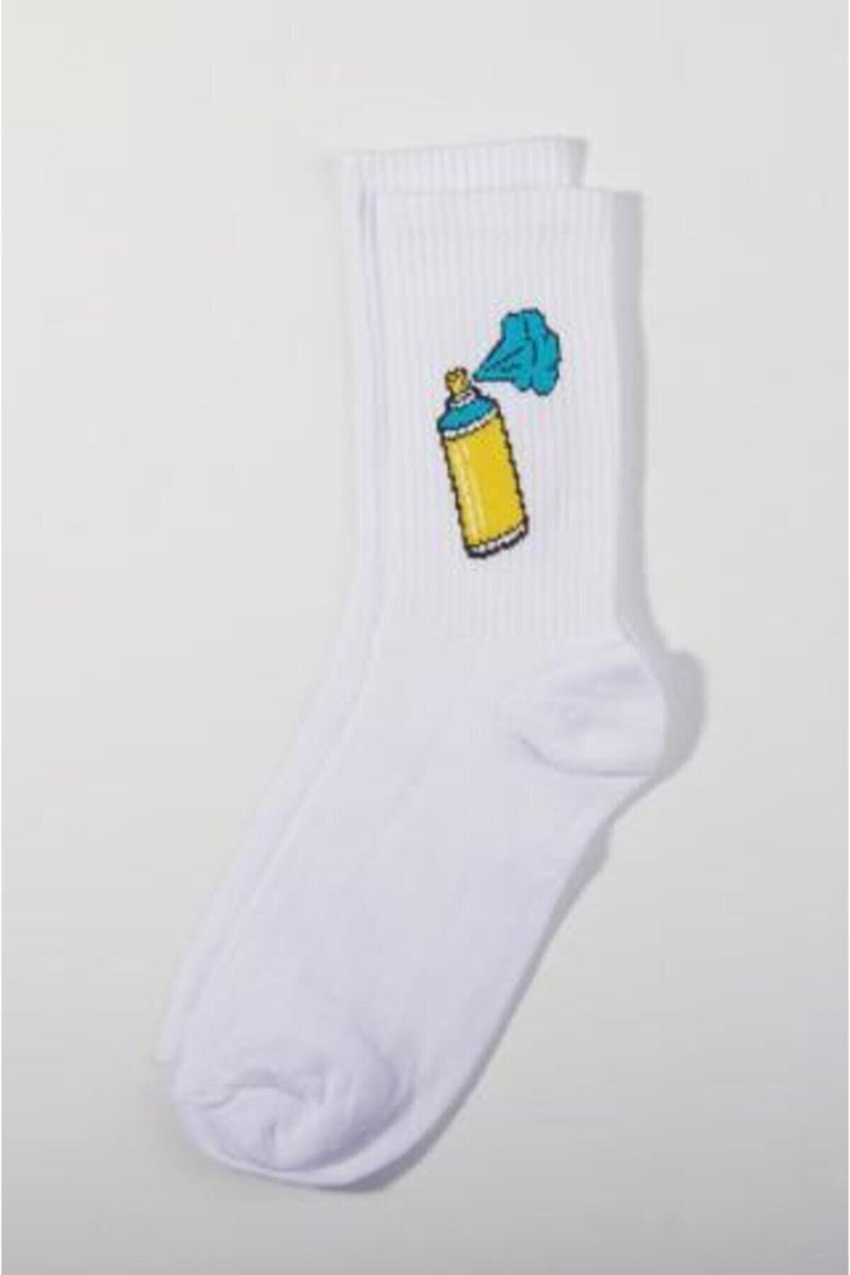 Ef Butik Beyaz Sprey Çorap