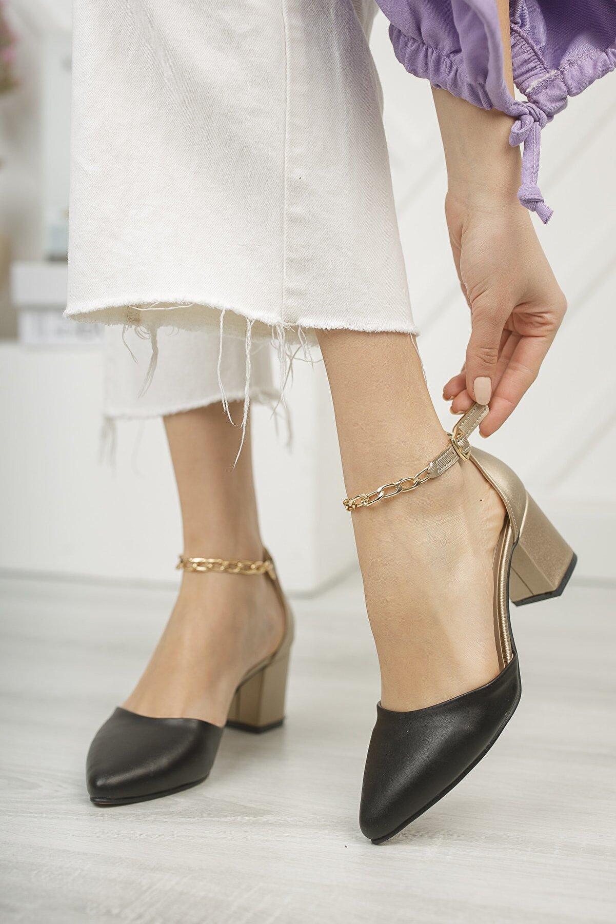 OWWO CLUB Kadın, Siyah Cilt - Dore, Bilekten Zincirli, Klasik Kısa Topuklu Ayakkabı
