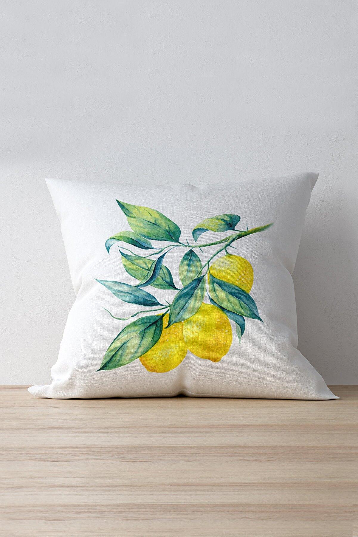 Cango Home Beyaz Sarı Limon Desenli Dijital Baskılı Kırlent Kılıfı - Oytyk894