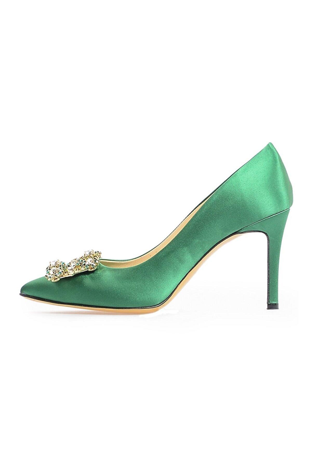 Flower Yeşil Saten Taşlı Abiye Ayakkabı