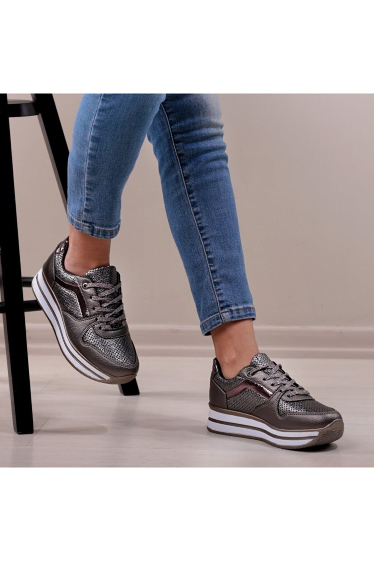pabucmarketi Comfort Platin Bayan Spor Ayakkabı
