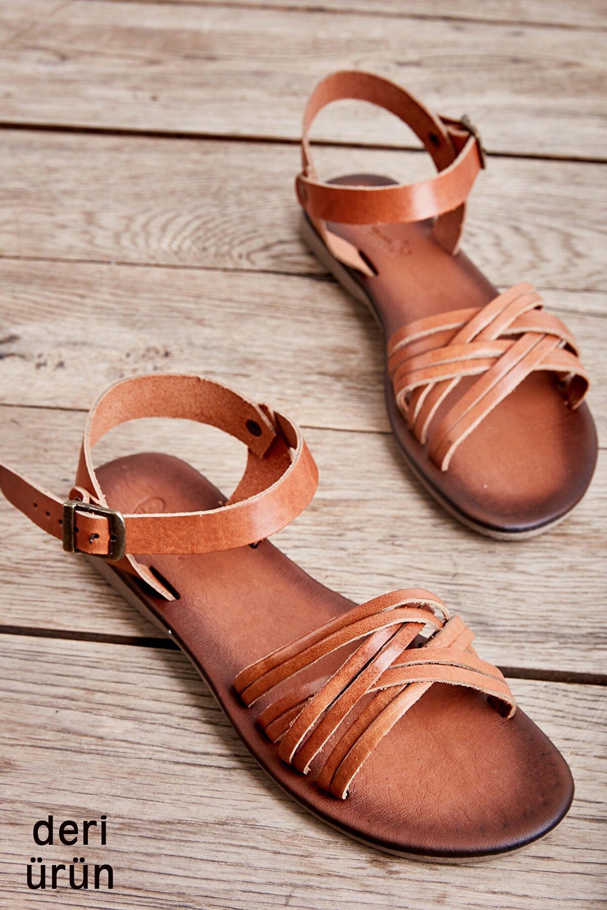 Bambi Hakiki Deri Taba Kadın Sandalet K05685161903