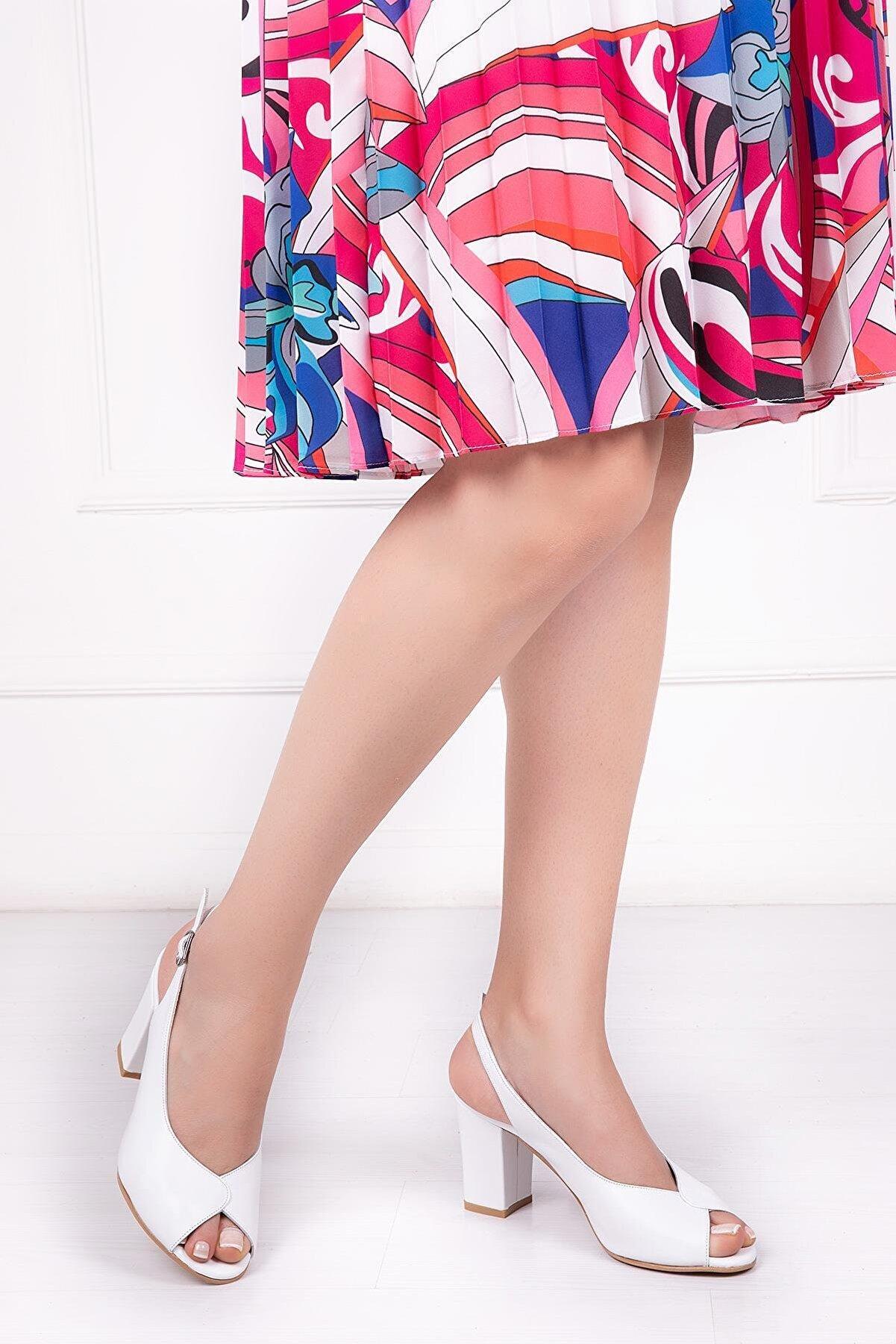 Deripabuc Hakiki Deri Beyaz Kadın Topuklu Deri Ayakkabı Shn-0091