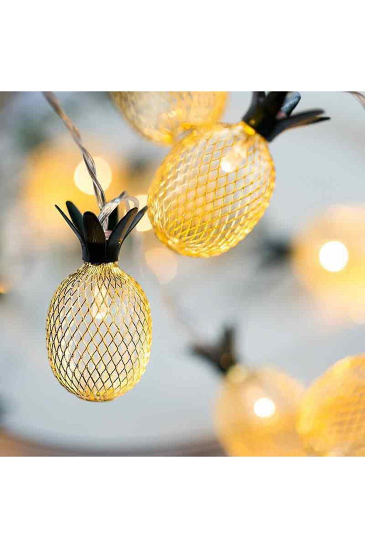 Şeker Ofisi Işıklı Ananas Ampullü 2 Metre 10 Led Ananaslı Lamba Aydınlatma