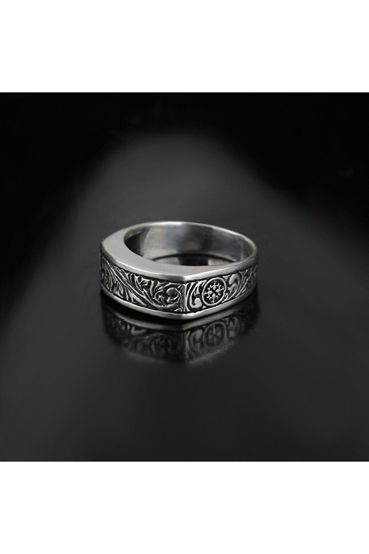 KsrModa El Yapımı Kalem Işçilikli 925 Ayar Erkek Gümüş Yüzük
