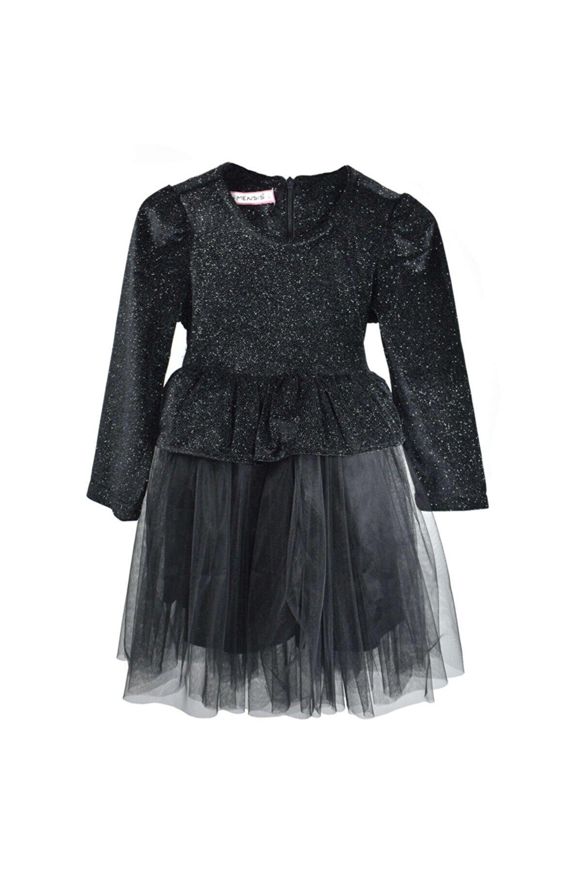 Mersevkids Kız Çocuk Simli Tül Etekli Kemerli Siyah Elbise 2-7 Yaş - Dar Kalıp