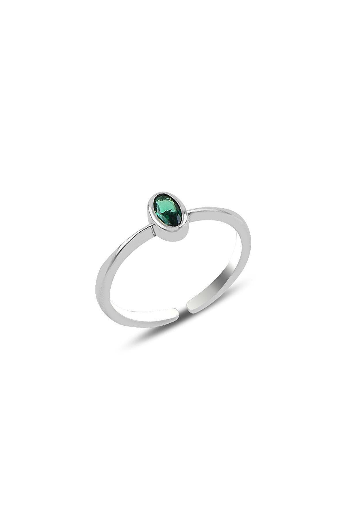 Söğütlü Silver Gümüş Rodyumlu Yeşil Taşlı Ayarlamalı Yüzük