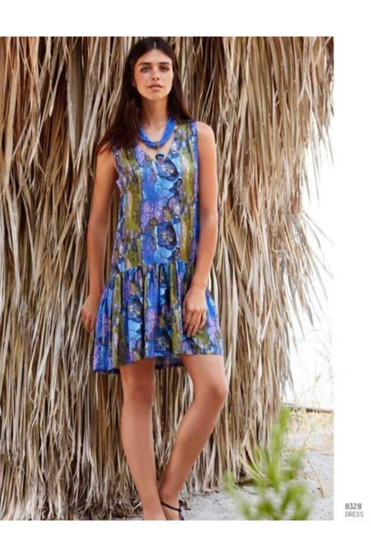 Penye Mood Penye Mood 8328 Kadın Elbise / Kadın Çiçekli Mini Elbise