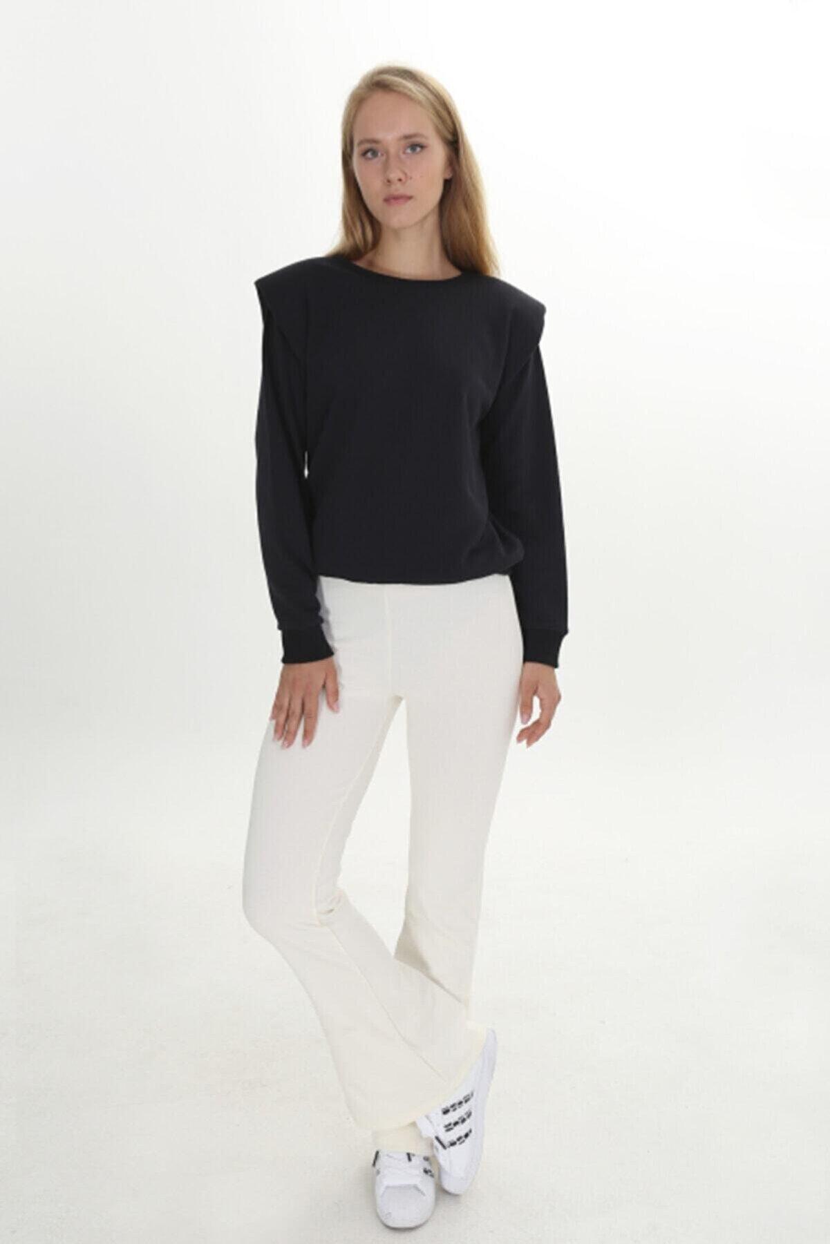 L' Azull Kadın Ekru Paçaları Yan Yırtmaçlı Tayt Pantolon