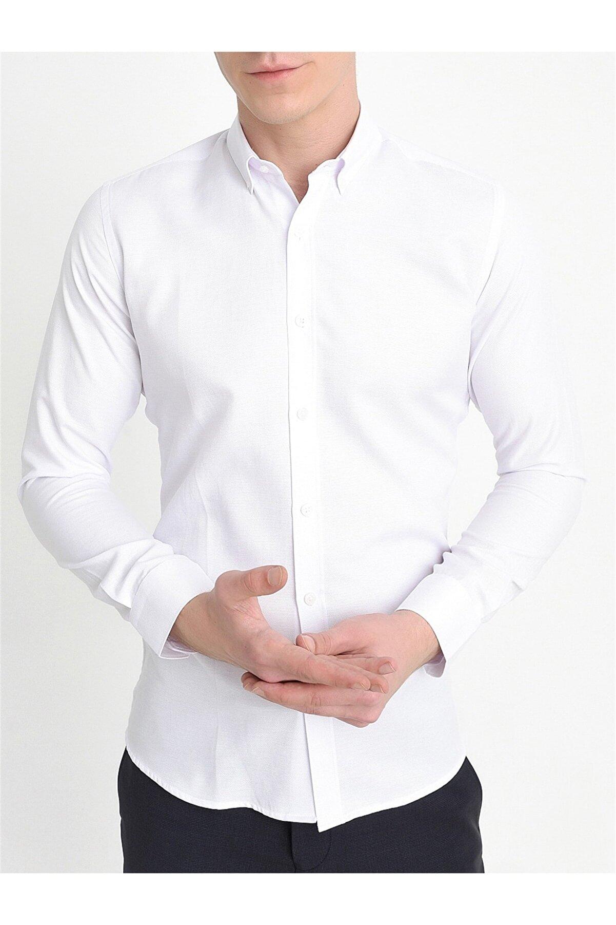 Efor Gk 560 Slim Fit Beyaz Klasik Gömlek