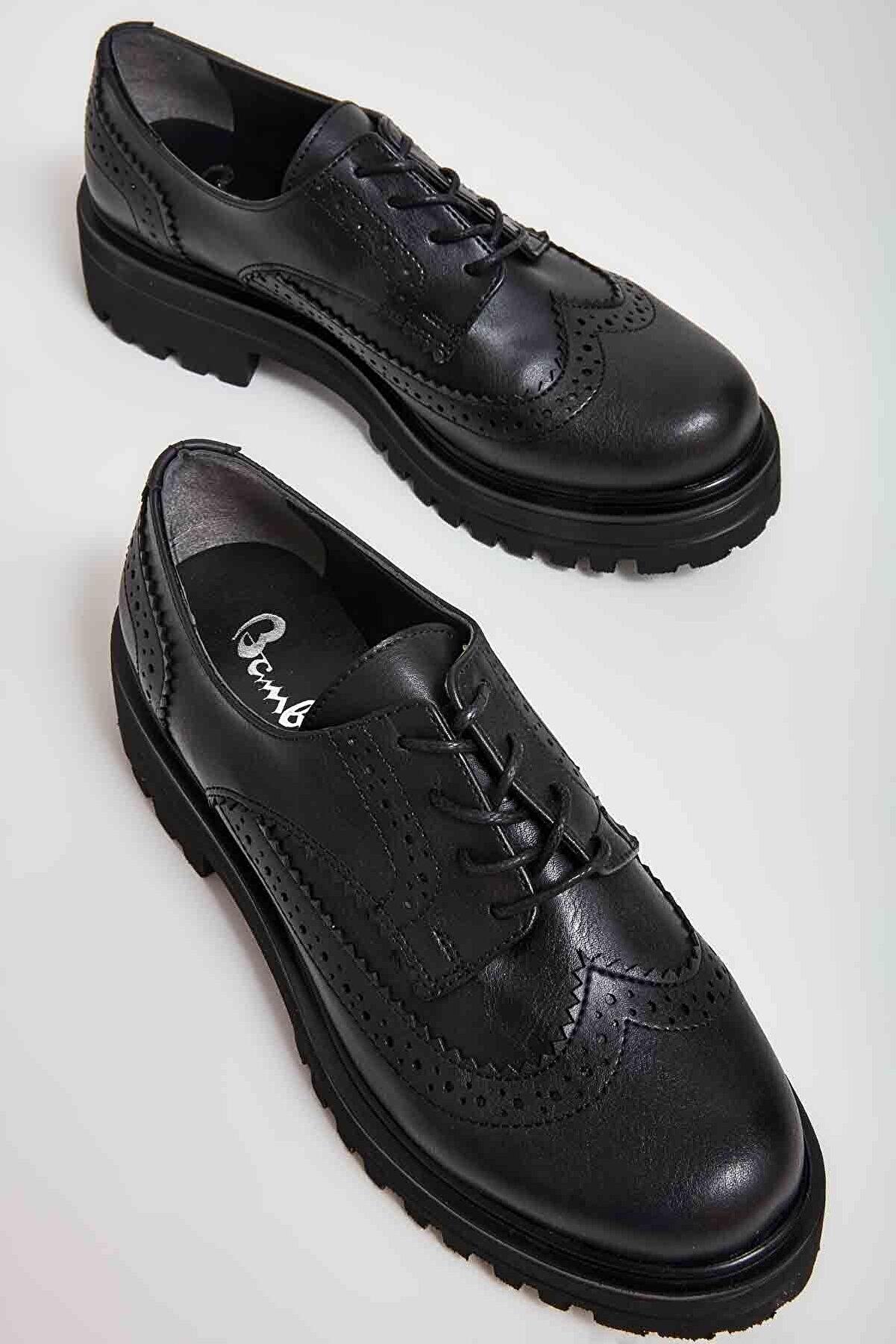 Bambi Siyah Kadın Oxford Ayakkabı M0538011309