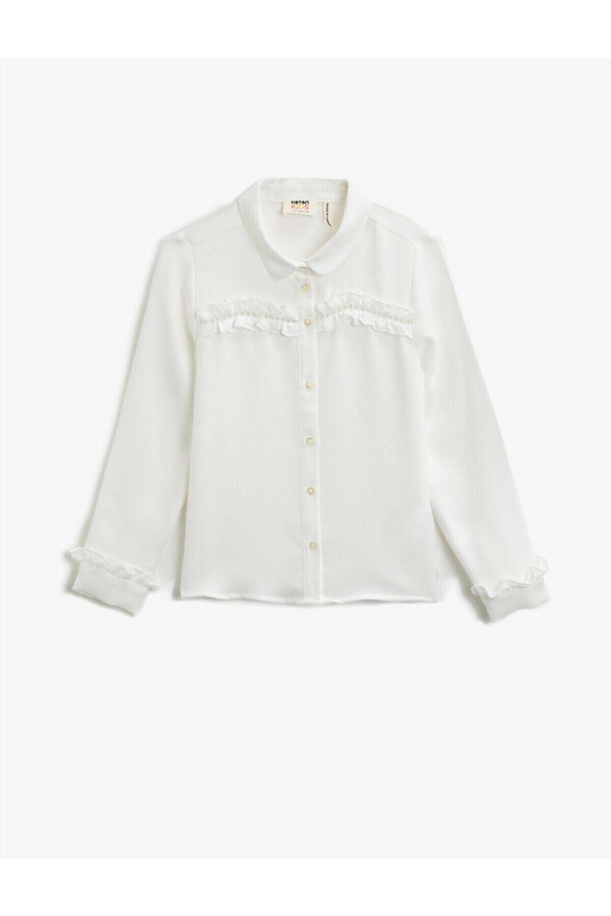 Koton Kız Çocuk Beyaz Klasik Yaka Fırfırlı Uzun Kollu Gömlek
