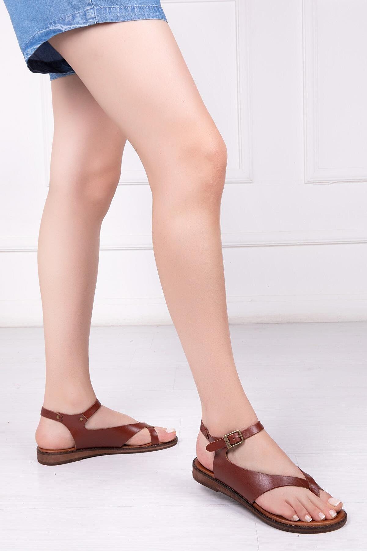 Deripabuc Hakiki Deri Kahverengi Kadın Deri Sandalet Dp-0081