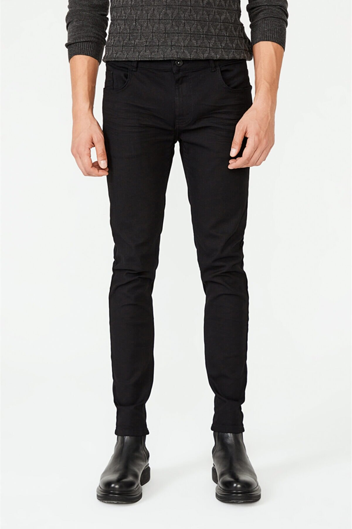 Avva Erkek Siyah Skinny Fit Jean Pantolon A02y3581