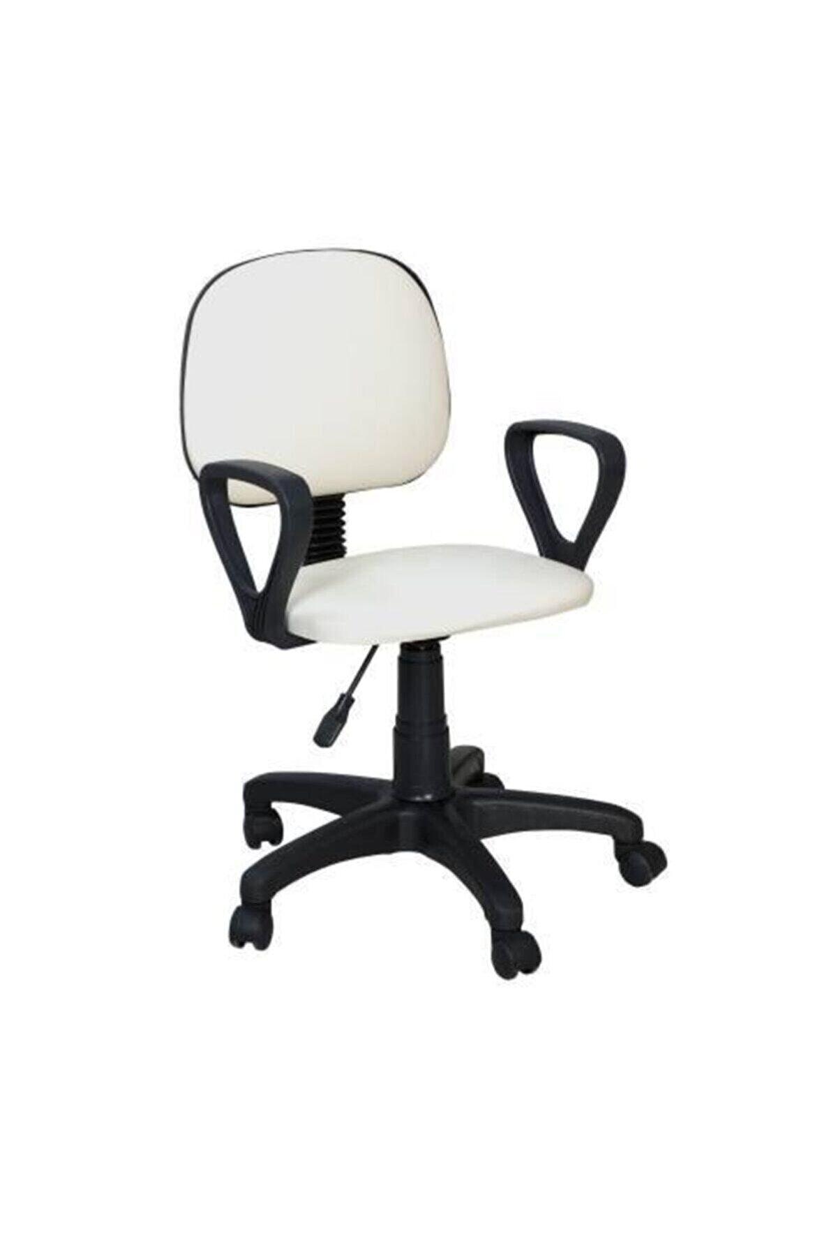 Boss Concept Döner Tekerlekli Beyaz Sandalye Ofis Çalışma Koltuğu