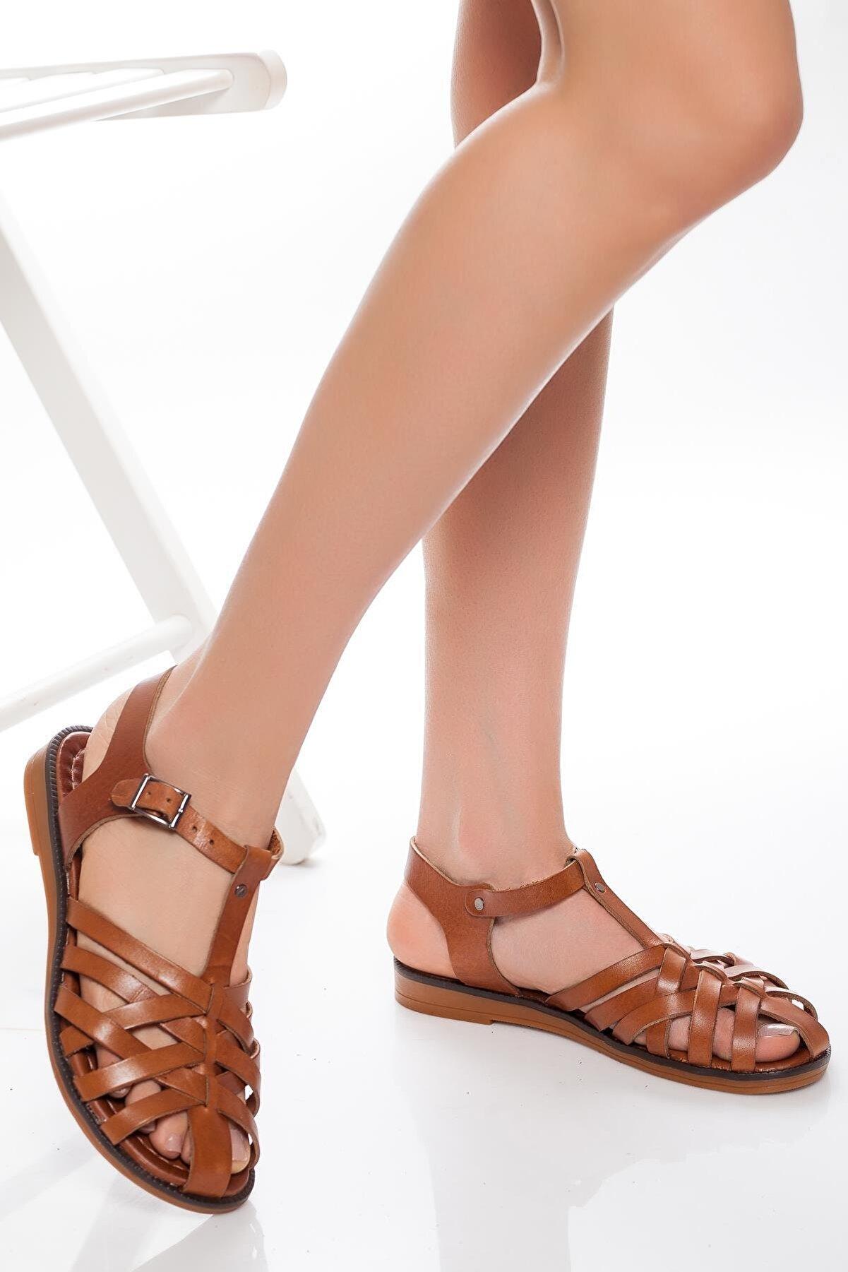 Deripabuc - Çeşme Hakiki Deri Taba Kadın Deri Sandalet Rma-3081