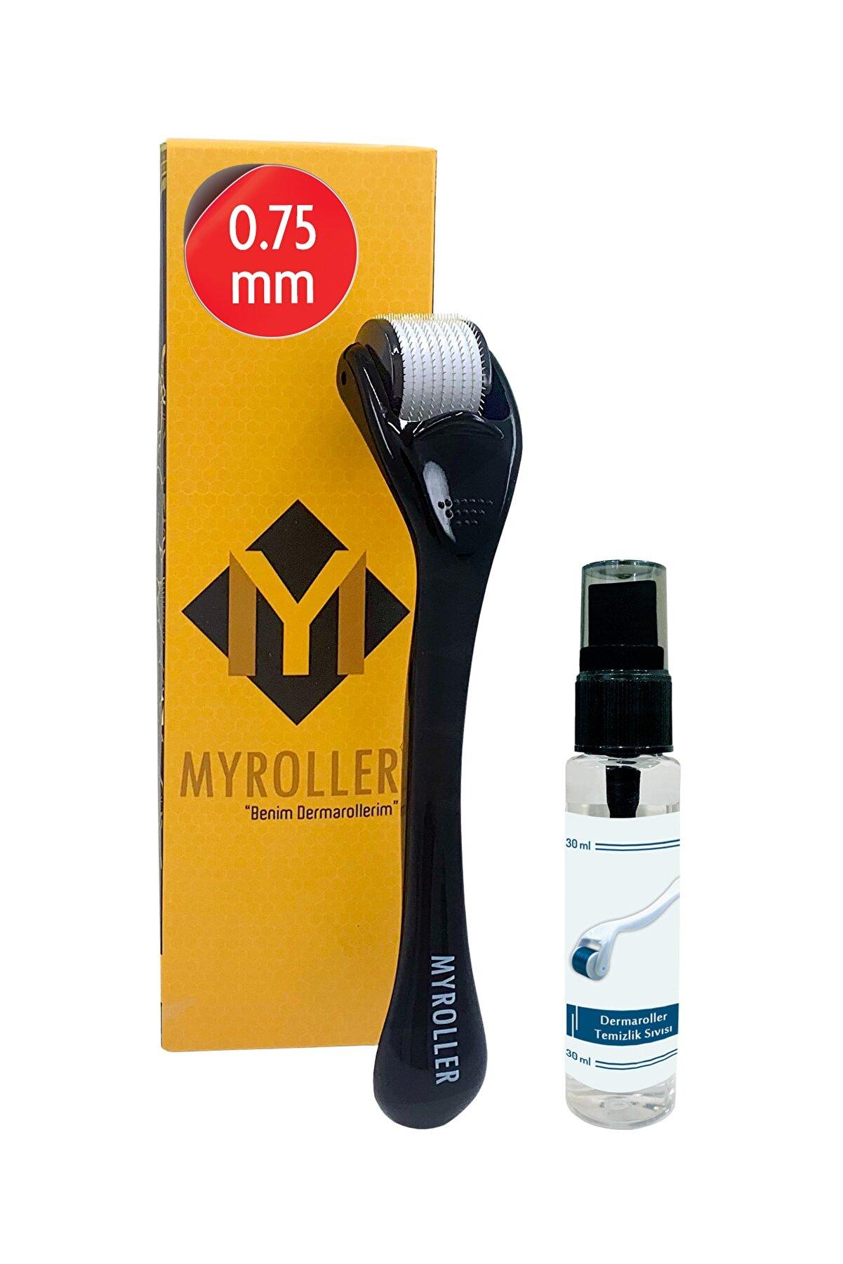 Myroller Dermaroller 0.75 mm + Dezenfektan Hediye Titanyum 540 Iğneli Saç Cilt Göz Yüz Vücut