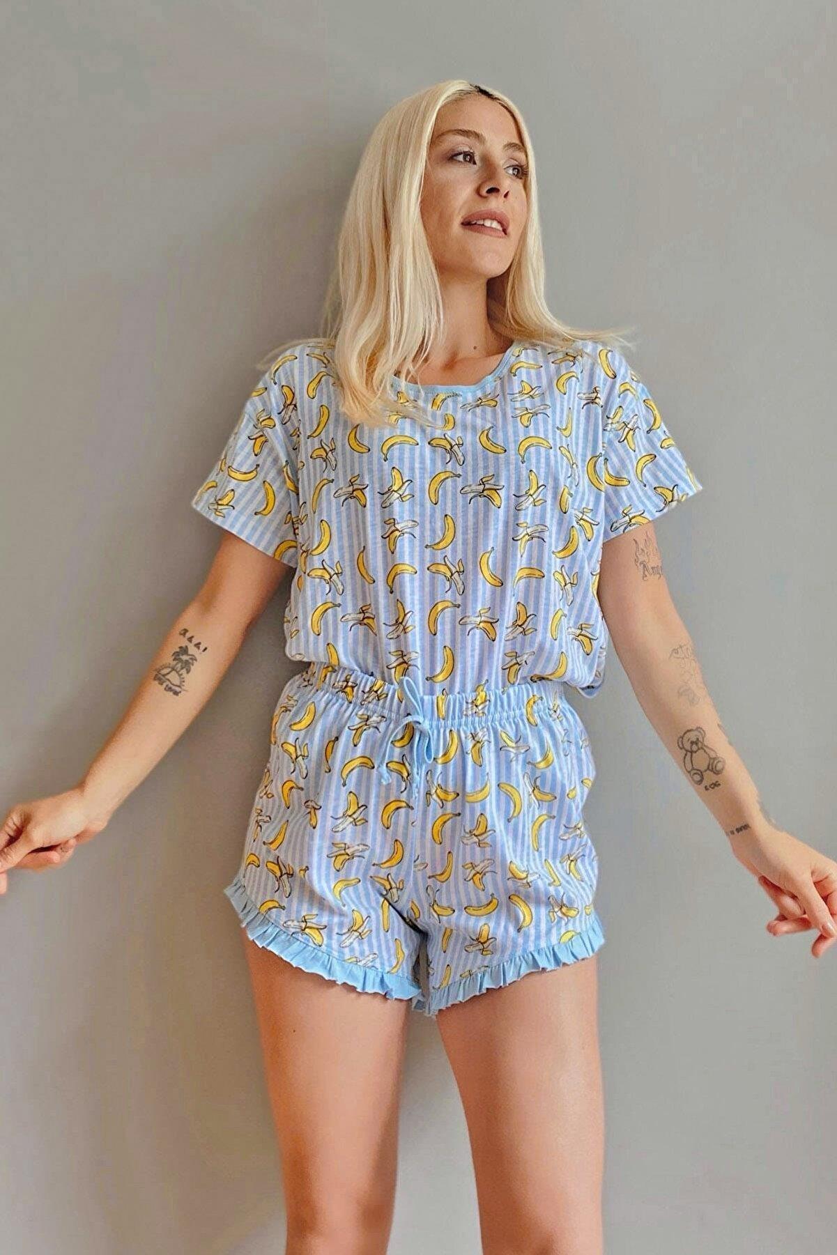 Pijamaevi Muz Baskılı Şortlu Kadın Pijama Takımı