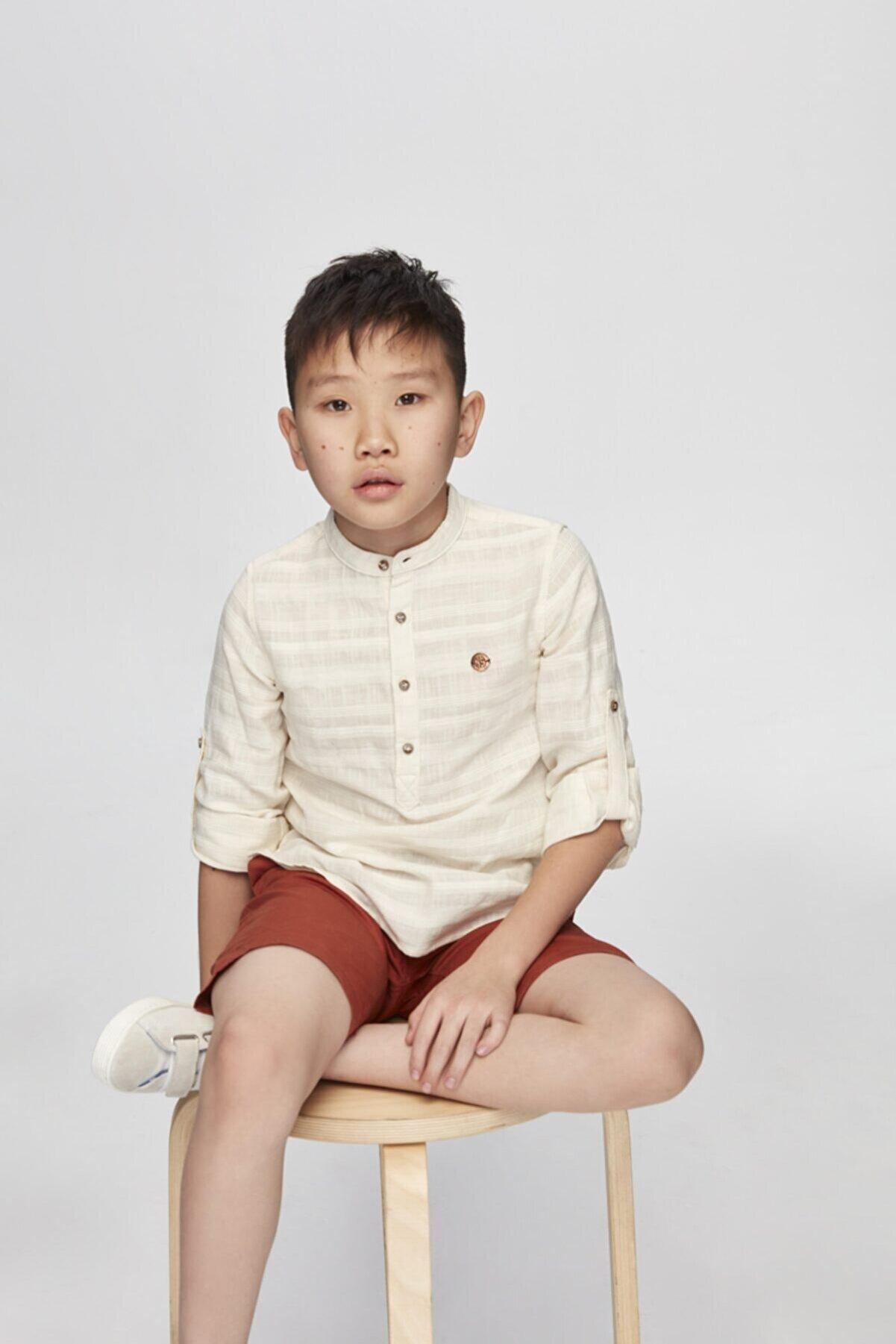Nebbati Erkek Çocuk Bej Gömlek