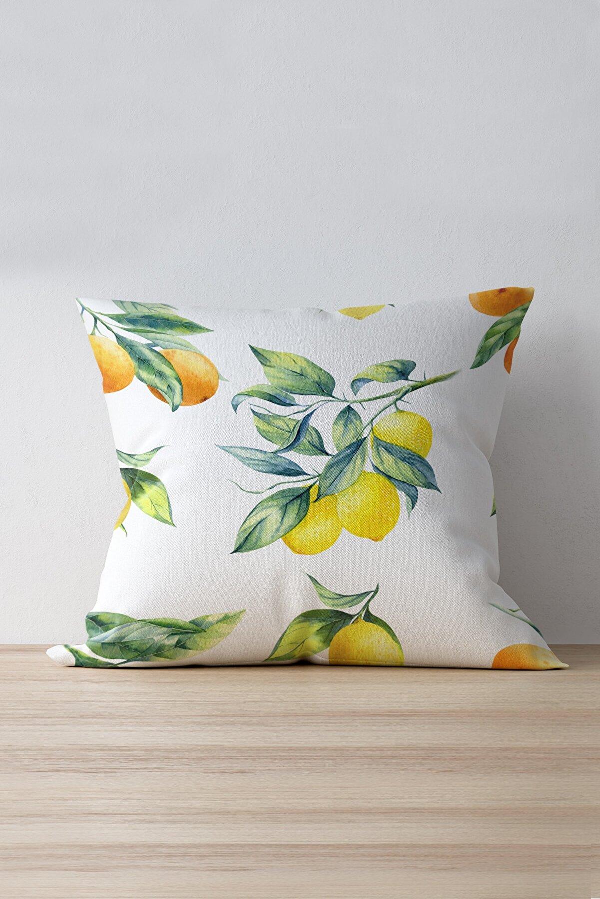 Cango Home Beyaz Sarı Limon Desenli Dijital Baskılı Kırlent Kılıfı - Oytyk895