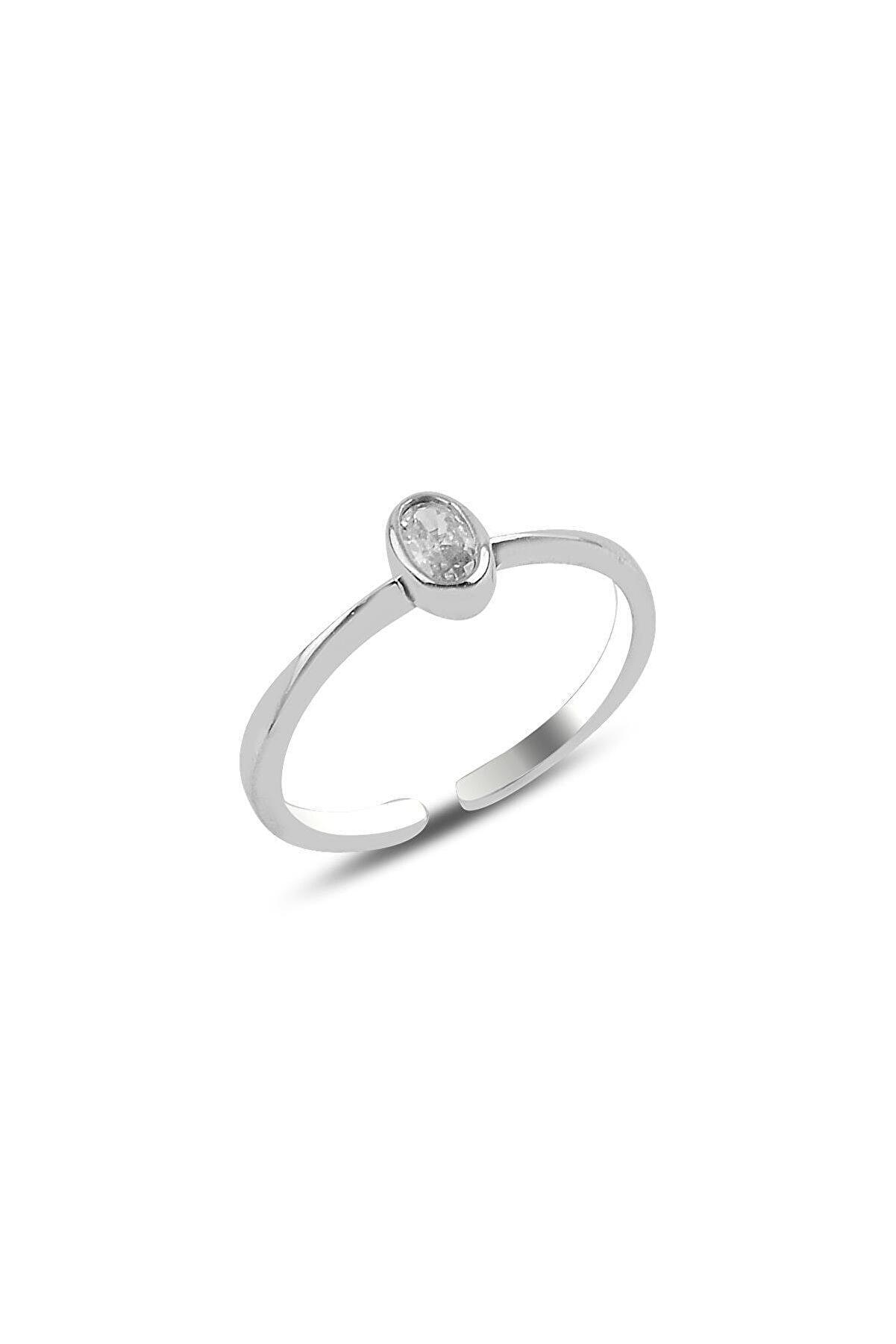 Söğütlü Silver Gümüş Rodyumlu Zirkon Taşlı Ayarlamalı Yüzük