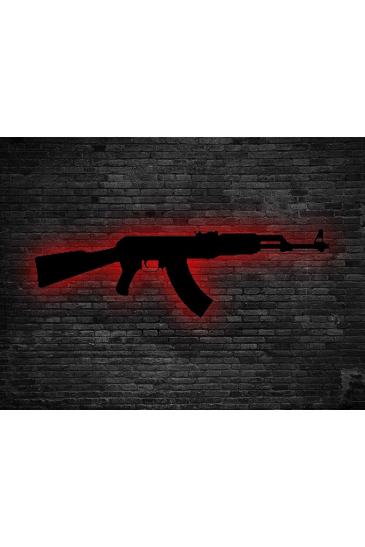 Prodizayn Tasarım Ak-47 Ledli Ahşap Tablo