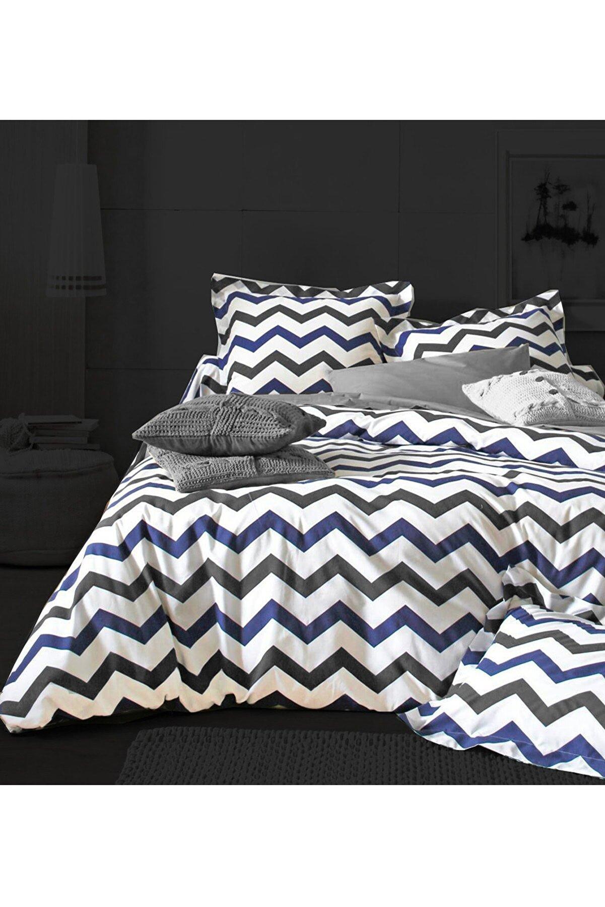 ALAMODE Doğal Pamuk Çift Kişilik Nevresim Takımı Mavi Zigzag -320560666