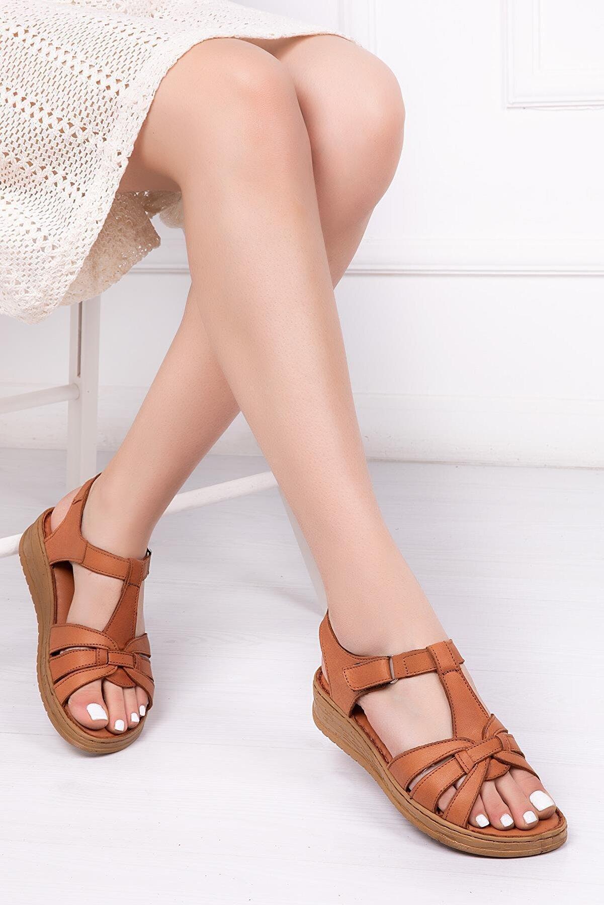 Deripabuc Hakiki Deri Taba Kadın Deri Sandalet Dp41-6010