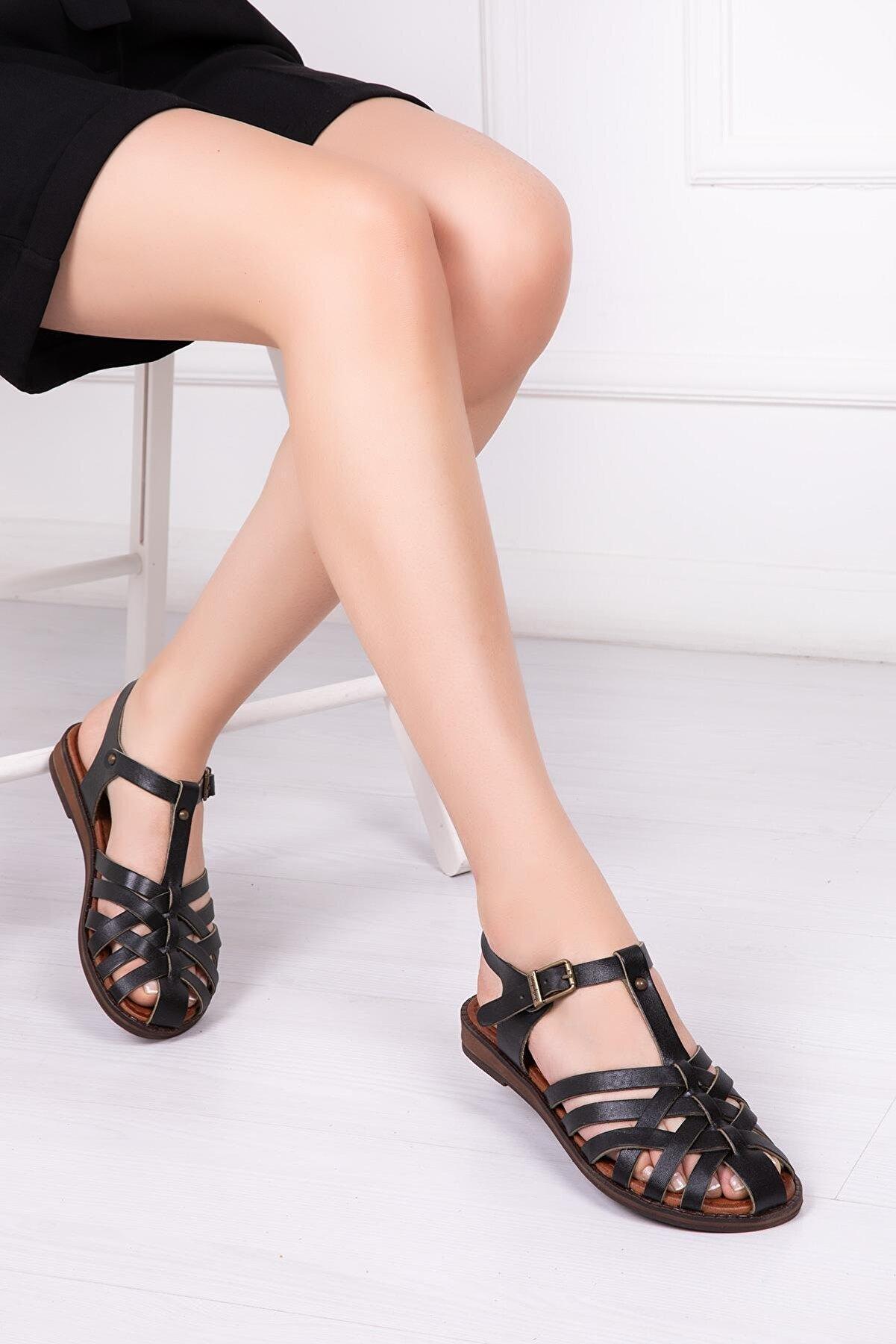 Deripabuc Hakiki Deri Siyah Kadın Deri Sandalet Dp-0067