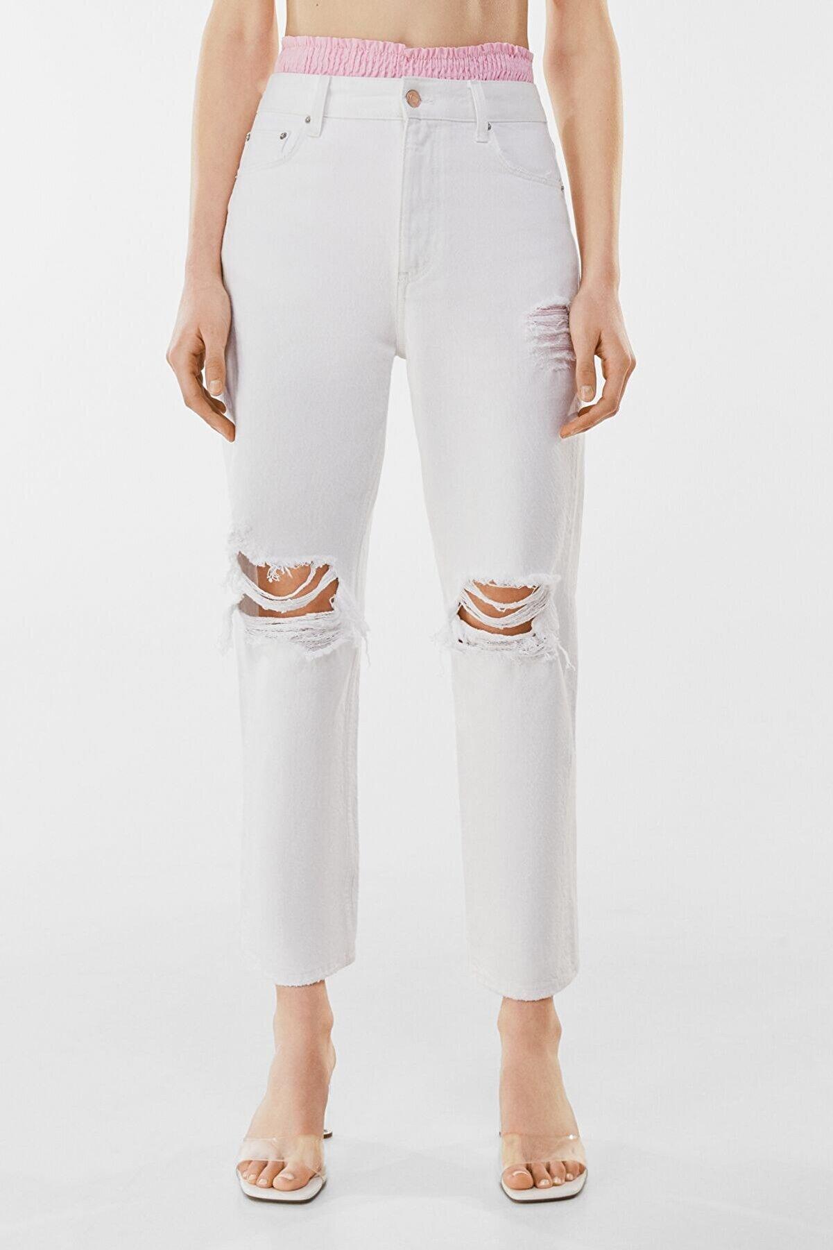 Bershka Kadın Beyaz Straight Fit Crop Jean 00225179