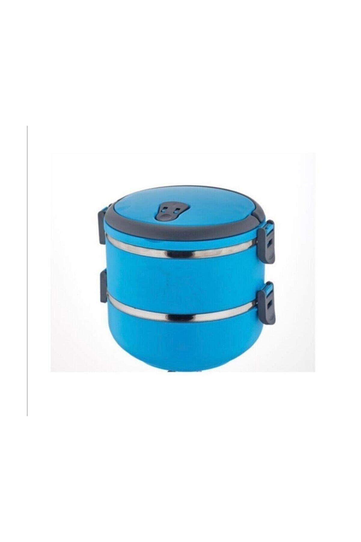 FreshBox 2 Li Mandallı Sefer Tası Çelik Yemek Termosu Mavi