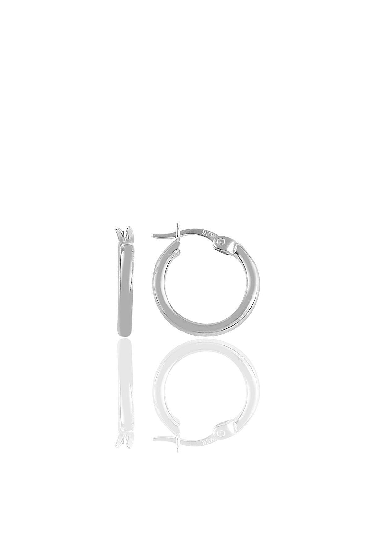 Söğütlü Silver Gümüş Rodyumlu 16 Mm Şarnel Halka Küpe