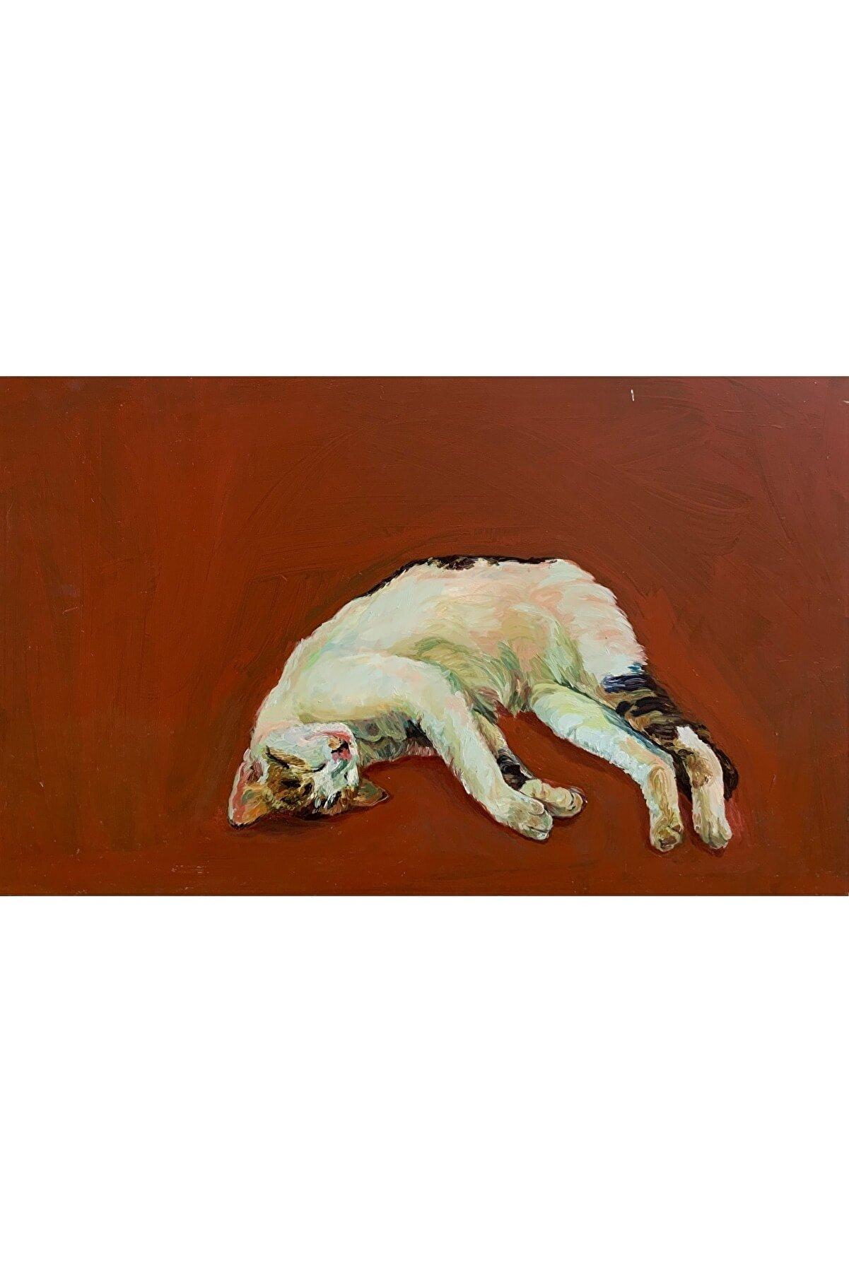 Emel Ezal Kedi, 42,5x69, Duralit Üzerine Yağlı Boya
