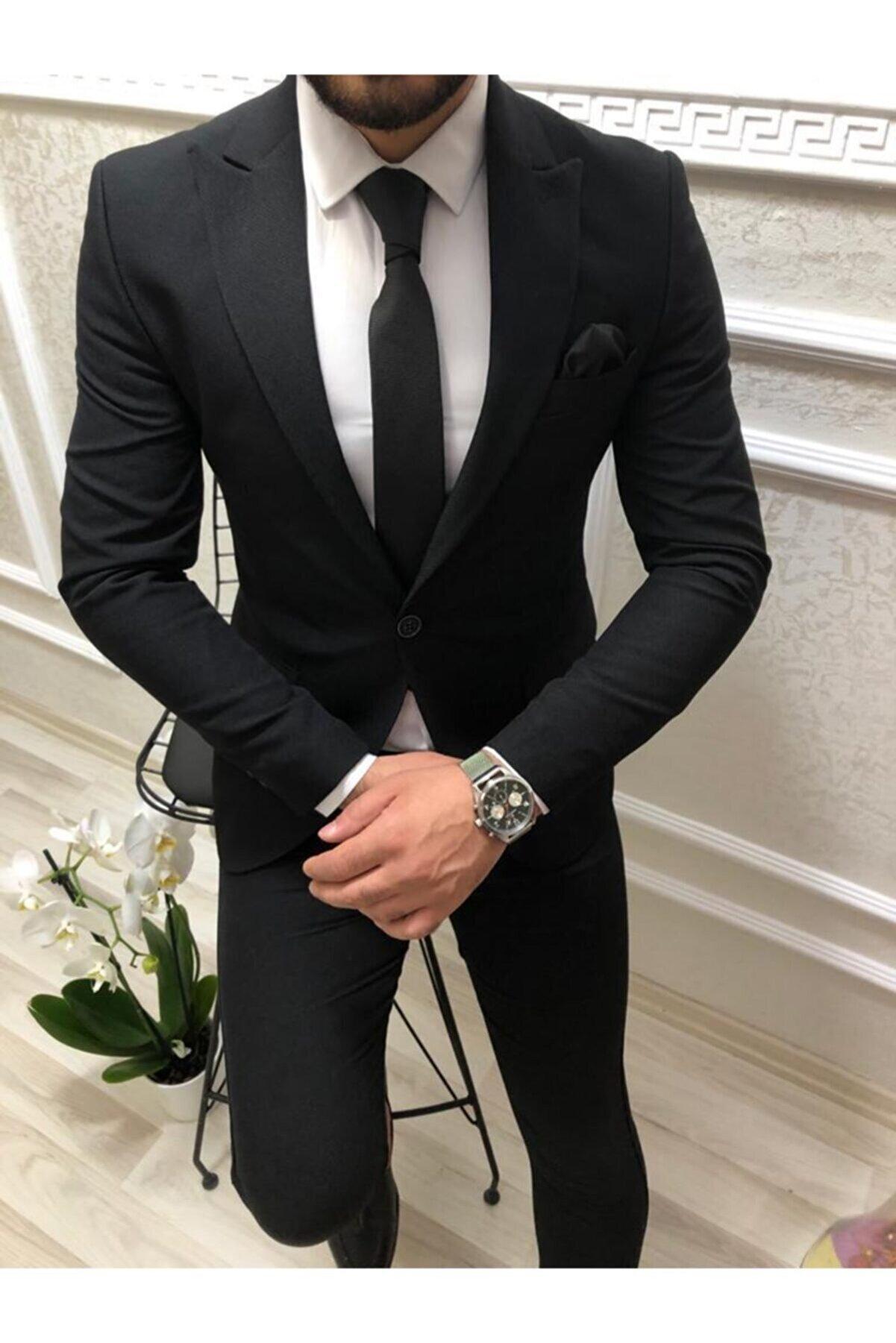 CXFASHİON Siyah Ceket Slim Fit